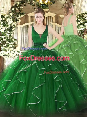 Beading and Ruffles Quinceanera Gowns Green Zipper Sleeveless Floor Length