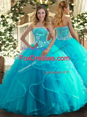 Attractive Aqua Blue Sleeveless Beading and Ruffles Floor Length Sweet 16 Quinceanera Dress