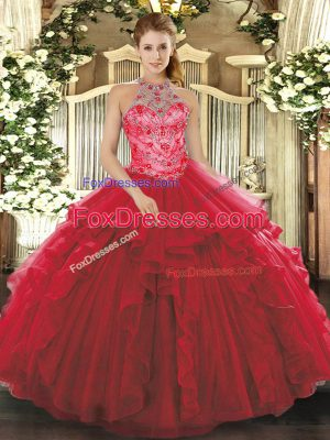 Sleeveless Lace Up Floor Length Beading and Embroidery and Ruffles Sweet 16 Dress