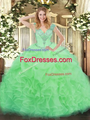Sleeveless Lace Up Floor Length Ruffles Quince Ball Gowns