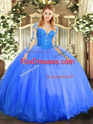 Dazzling Blue Tulle Lace Up Sweet 16 Quinceanera Dress Long Sleeves Floor Length Lace