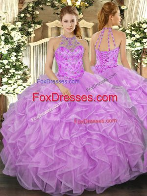 Perfect Lilac Quinceanera Gowns Military Ball and Sweet 16 and Quinceanera with Beading and Ruffles Halter Top Sleeveless Lace Up