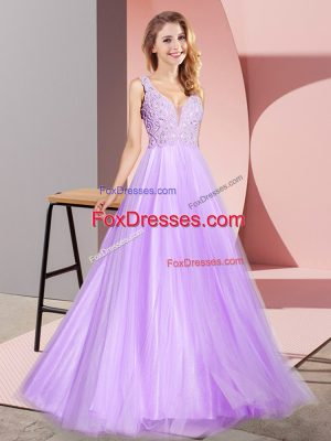 Perfect Floor Length Lavender Prom Dress Tulle Sleeveless Lace