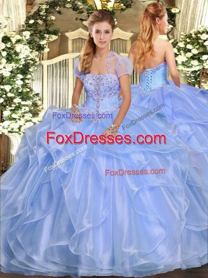 Luxurious Light Blue Sleeveless Organza Lace Up 15 Quinceanera Dress for Military Ball and Sweet 16 and Quinceanera