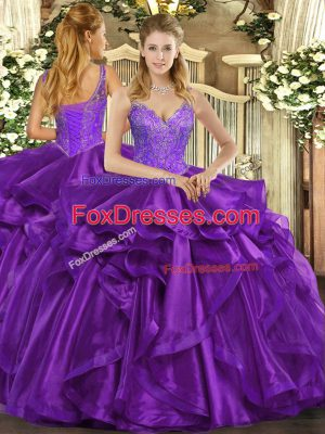 Sleeveless Organza Floor Length Lace Up Sweet 16 Quinceanera Dress in Eggplant Purple with Beading and Ruffles