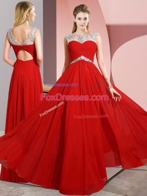 Red Sleeveless Floor Length Beading Clasp Handle Prom Dress