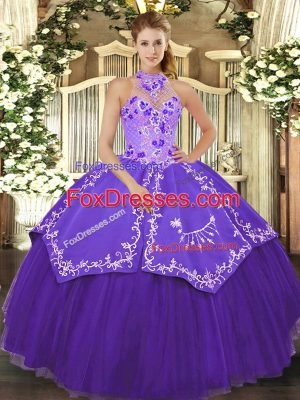 Purple Sleeveless Beading and Embroidery Floor Length Quince Ball Gowns