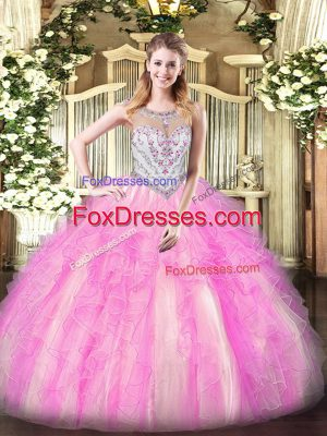 Scoop Sleeveless Tulle Quinceanera Dress Beading and Ruffles Zipper