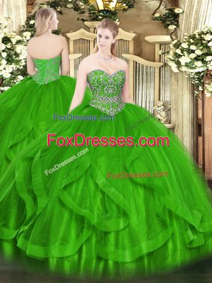 Perfect Green Sleeveless Floor Length Beading and Ruffles Lace Up Quinceanera Gown