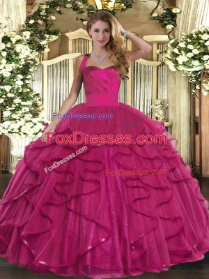 Ruffles Sweet 16 Quinceanera Dress Fuchsia Lace Up Sleeveless Floor Length