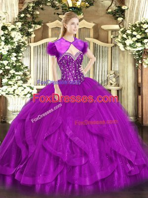 Sleeveless Lace Up Floor Length Beading and Ruffles Quince Ball Gowns