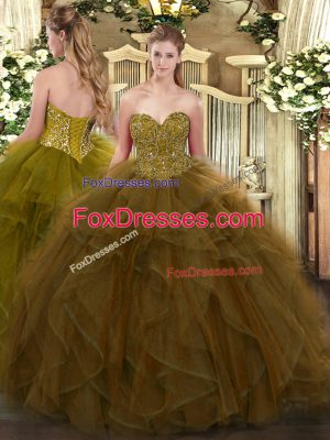 Chic Floor Length Brown Quince Ball Gowns Sweetheart Sleeveless Lace Up