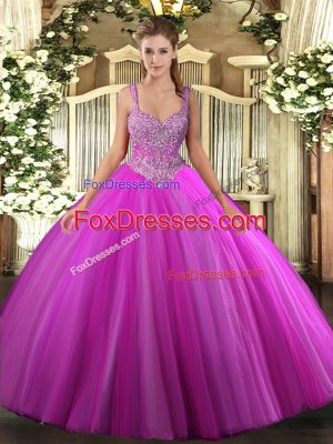 Beading Ball Gown Prom Dress Fuchsia Lace Up Sleeveless Floor Length