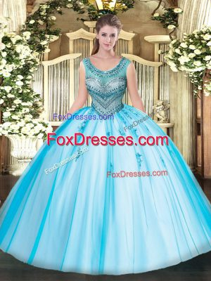 Romantic Baby Blue Scoop Neckline Beading and Appliques Quinceanera Dress Sleeveless Lace Up