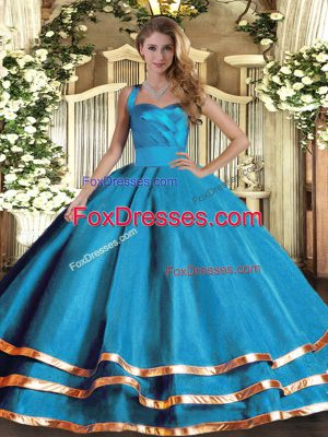 Customized Floor Length Baby Blue 15 Quinceanera Dress Halter Top Sleeveless Lace Up