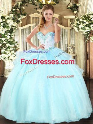 Adorable Apple Green Sleeveless Floor Length Beading Lace Up Quinceanera Dresses
