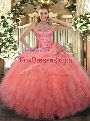 Customized Watermelon Red Sleeveless Floor Length Beading and Embroidery Lace Up Quince Ball Gowns