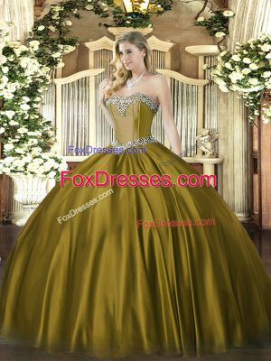 Romantic Ball Gowns Vestidos de Quinceanera Brown Sweetheart Satin Sleeveless Floor Length Lace Up