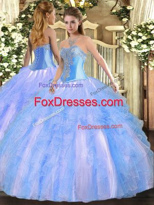 High Quality Aqua Blue Tulle Lace Up Sweetheart Sleeveless Floor Length Quince Ball Gowns Beading and Ruffles