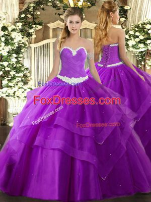 Sleeveless Tulle Floor Length Lace Up Quinceanera Dresses in Purple with Appliques and Ruffled Layers