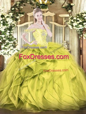 Great Floor Length Ball Gowns Sleeveless Olive Green Quince Ball Gowns Lace Up