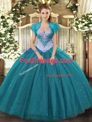 Attractive Teal Sweetheart Neckline Beading and Sequins Vestidos de Quinceanera Sleeveless Lace Up