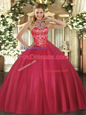 Best Selling Coral Red Sleeveless Satin Lace Up Sweet 16 Dresses for Military Ball and Sweet 16 and Quinceanera