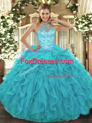 Perfect Aqua Blue Lace Up Quinceanera Gowns Beading and Embroidery and Ruffles Sleeveless Floor Length