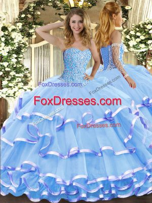 Sweetheart Sleeveless Lace Up Quince Ball Gowns Aqua Blue Organza