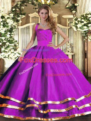 Exceptional Tulle Sleeveless Floor Length 15th Birthday Dress and Ruffled Layers