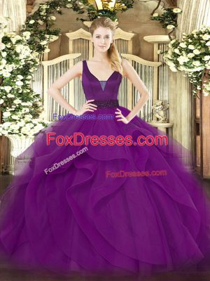 Attractive Sleeveless Tulle Floor Length Zipper Quinceanera Dress in Purple with Beading and Ruffles
