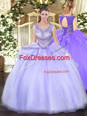 Lavender Lace Up Scoop Beading Quinceanera Gowns Organza Sleeveless