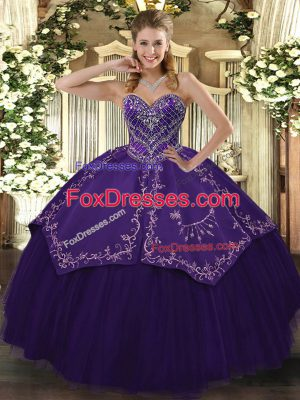 Purple Taffeta and Tulle Lace Up Quinceanera Gown Sleeveless Floor Length Pattern