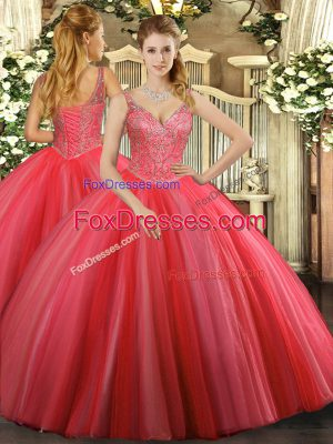 Coral Red Tulle Lace Up V-neck Sleeveless Floor Length Ball Gown Prom Dress Beading