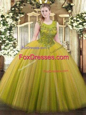 Elegant Brown Ball Gowns Beading Quinceanera Gown Zipper Tulle Sleeveless Floor Length