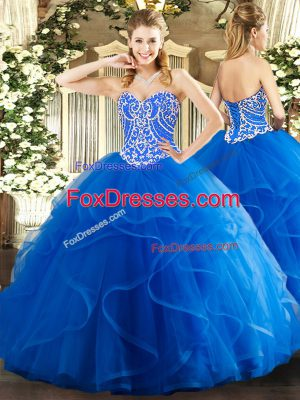 Artistic Blue Sleeveless Tulle Lace Up Quinceanera Gown for Military Ball and Sweet 16 and Quinceanera