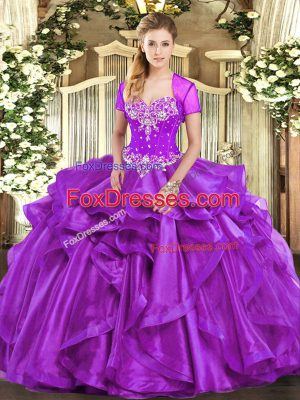 Beading and Ruffles Sweet 16 Quinceanera Dress Purple Lace Up Sleeveless Floor Length
