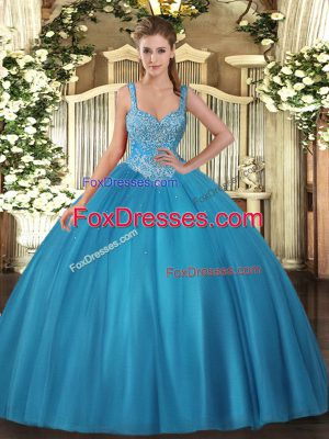 Custom Designed Ball Gowns Quince Ball Gowns Teal Straps Tulle Sleeveless Floor Length Lace Up
