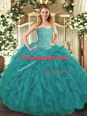 Turquoise Sleeveless Beading and Ruffles Floor Length Sweet 16 Dress