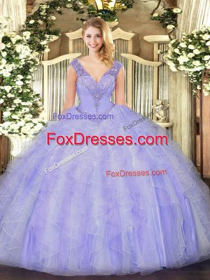 Enchanting Lavender Organza Lace Up Sweet 16 Quinceanera Dress Sleeveless Floor Length Beading and Ruffles