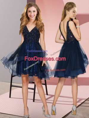 Navy Blue Tulle Backless V-neck Sleeveless Knee Length Wedding Guest Dresses Appliques and Ruffles