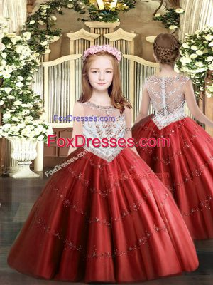 Red Sleeveless Beading and Appliques Floor Length Kids Pageant Dress