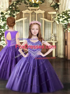 Custom Designed Sleeveless Tulle Floor Length Lace Up Pageant Dresses in Lavender with Beading