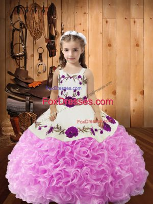 Embroidery and Ruffles Little Girl Pageant Dress Lilac Lace Up Sleeveless Floor Length