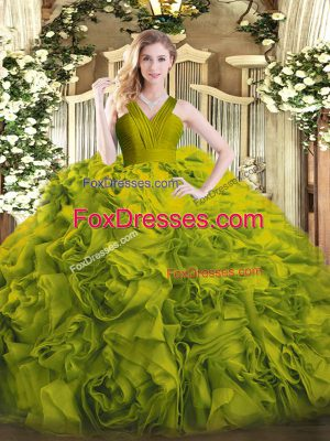 Stunning Olive Green Ball Gowns Ruffles Quinceanera Gown Zipper Fabric With Rolling Flowers Sleeveless Floor Length