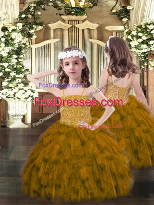 Brown Organza Lace Up Spaghetti Straps Sleeveless Floor Length Girls Pageant Dresses Beading and Ruffles