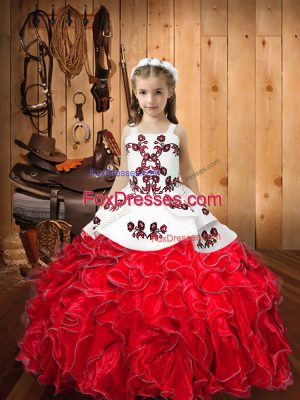 Red Sleeveless Organza Lace Up Pageant Gowns For Girls for Sweet 16 and Quinceanera and Wedding Party