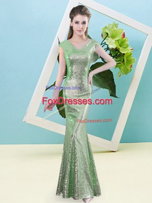 Beauteous Cap Sleeves Floor Length Sequins Zipper Prom Party Dress with Green