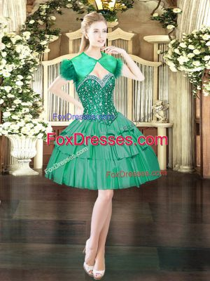 Hot Sale Dark Green Lace Up Sweetheart Beading Homecoming Dress Organza Sleeveless
