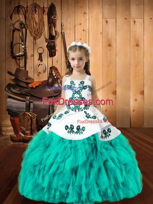Aqua Blue Straps Neckline Embroidery and Ruffles Winning Pageant Gowns Sleeveless Lace Up